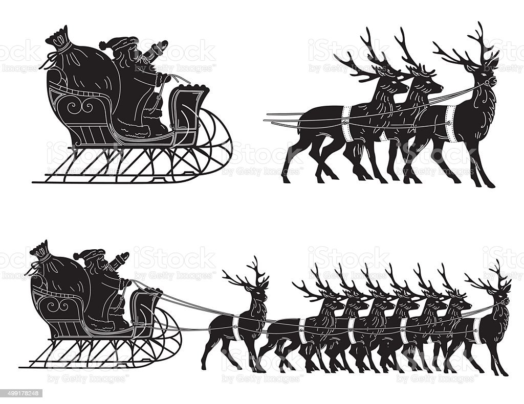 Santa With His Sleigh And Reindeer vector art illustration