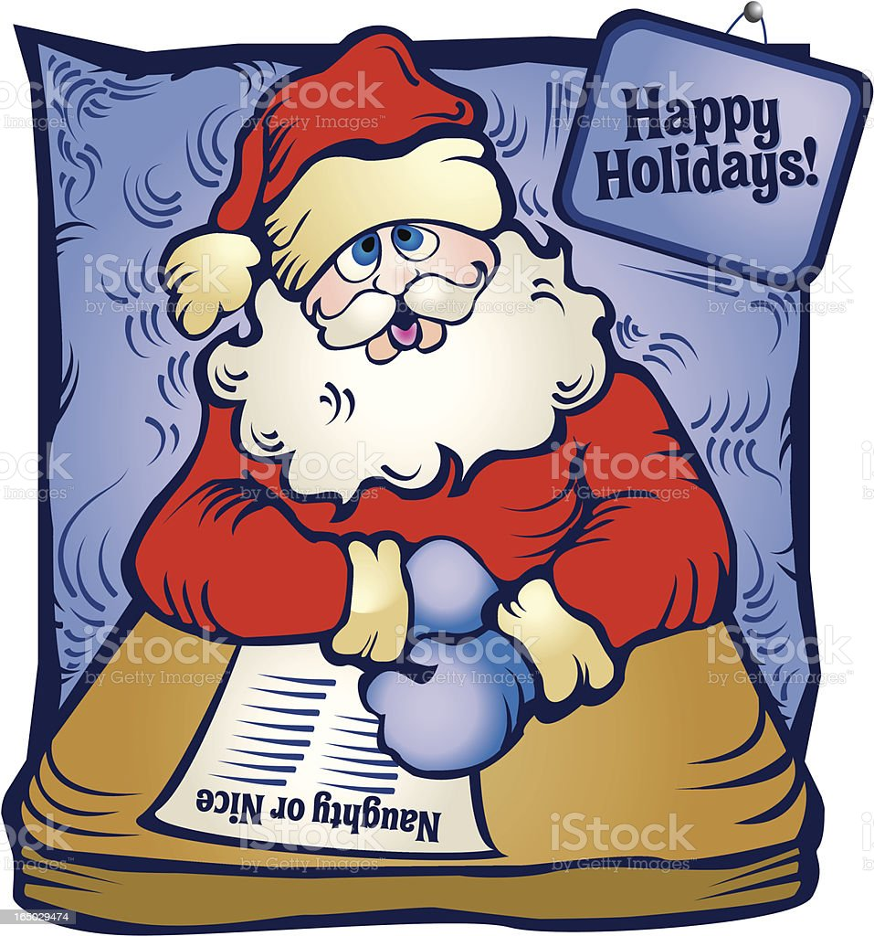 Santa with List vector art illustration