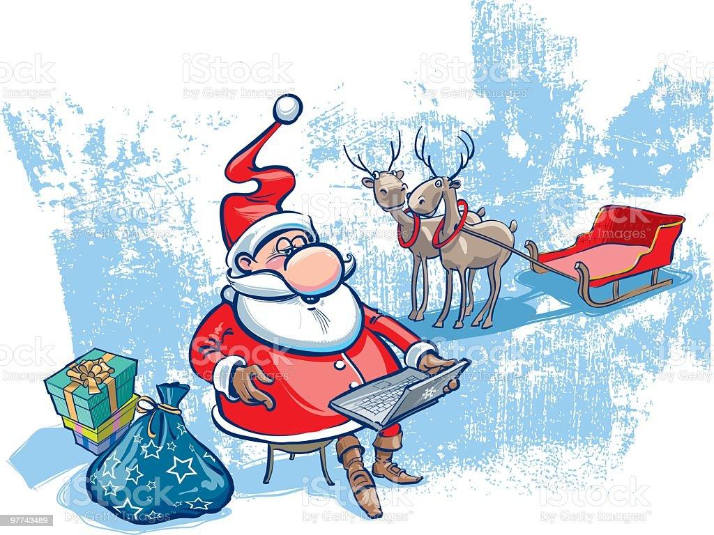 Santa with notebook vector art illustration