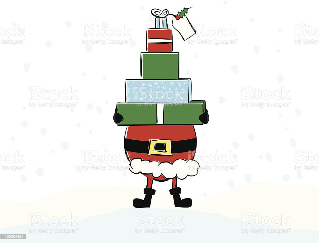Santa with Packages royalty-free stock vector art