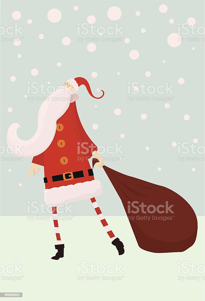Santa with sack in snow royalty-free stock vector art
