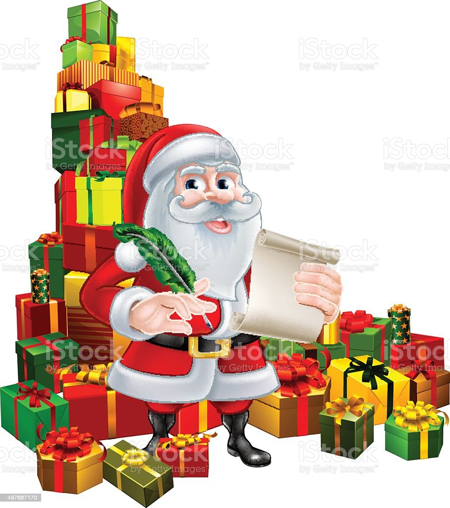 Santa With Scroll and Gifts vector art illustration