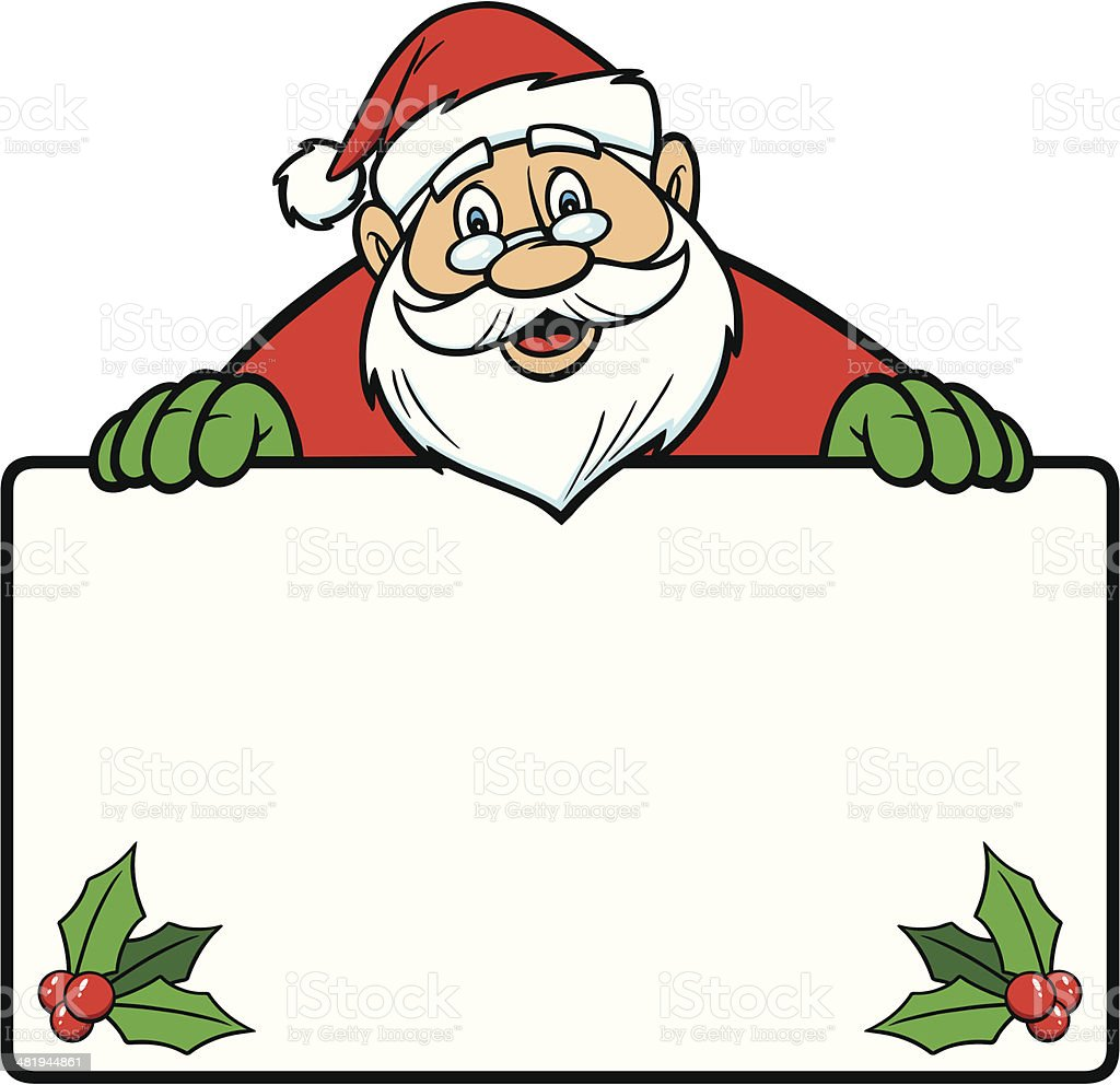 Santa With Sign royalty-free stock vector art