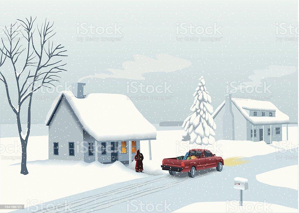 Santa with truck vector art illustration