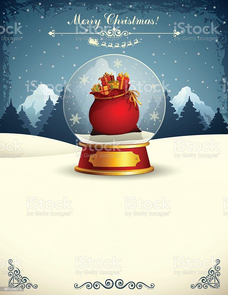 Santa's Bag in a snow globe vector art illustration