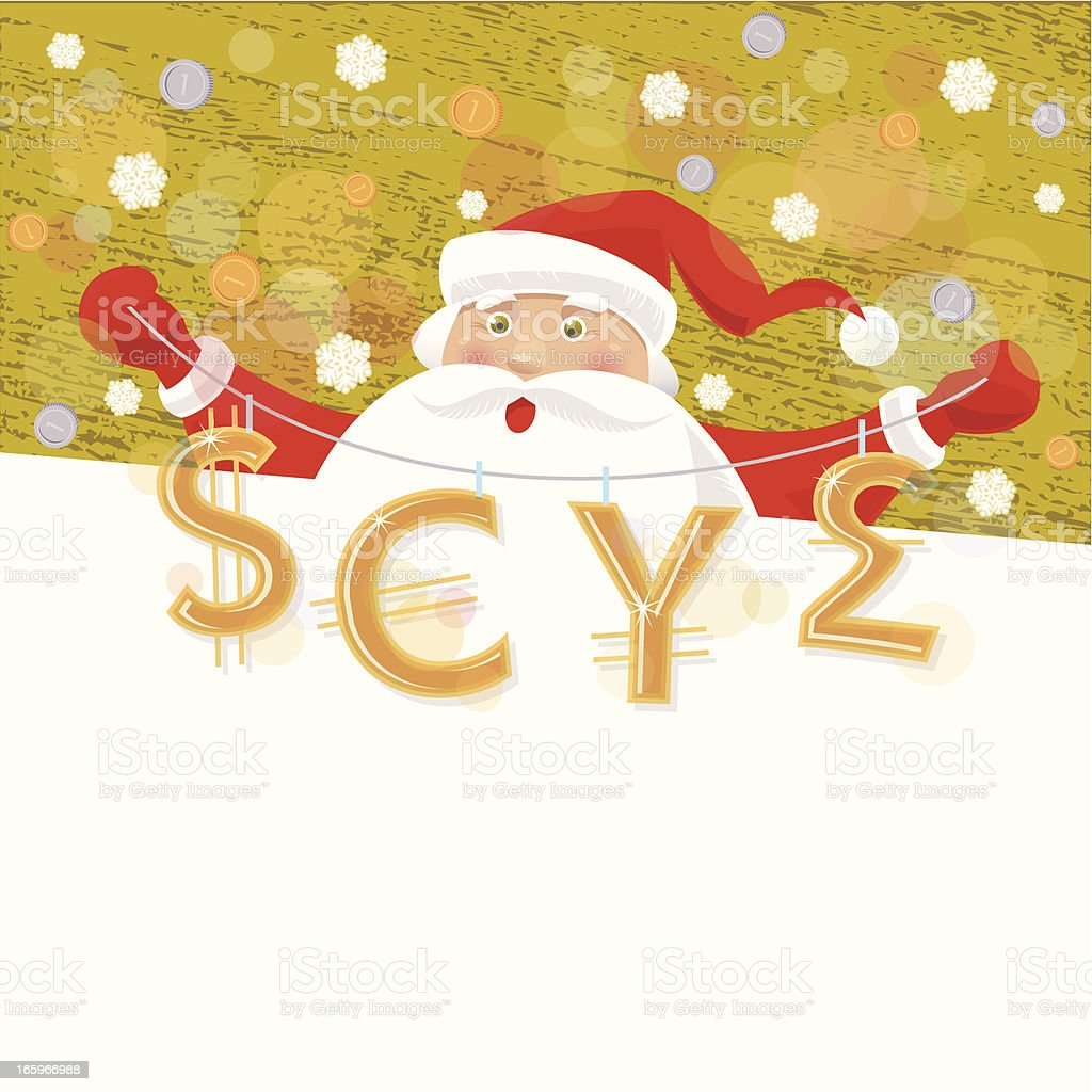 Santa's Banner with Currency royalty-free stock vector art