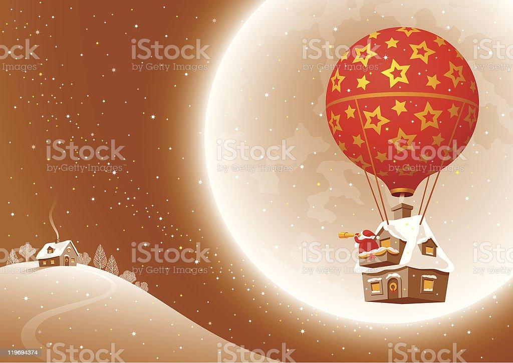 Santa's Christmas flight royalty-free stock vector art