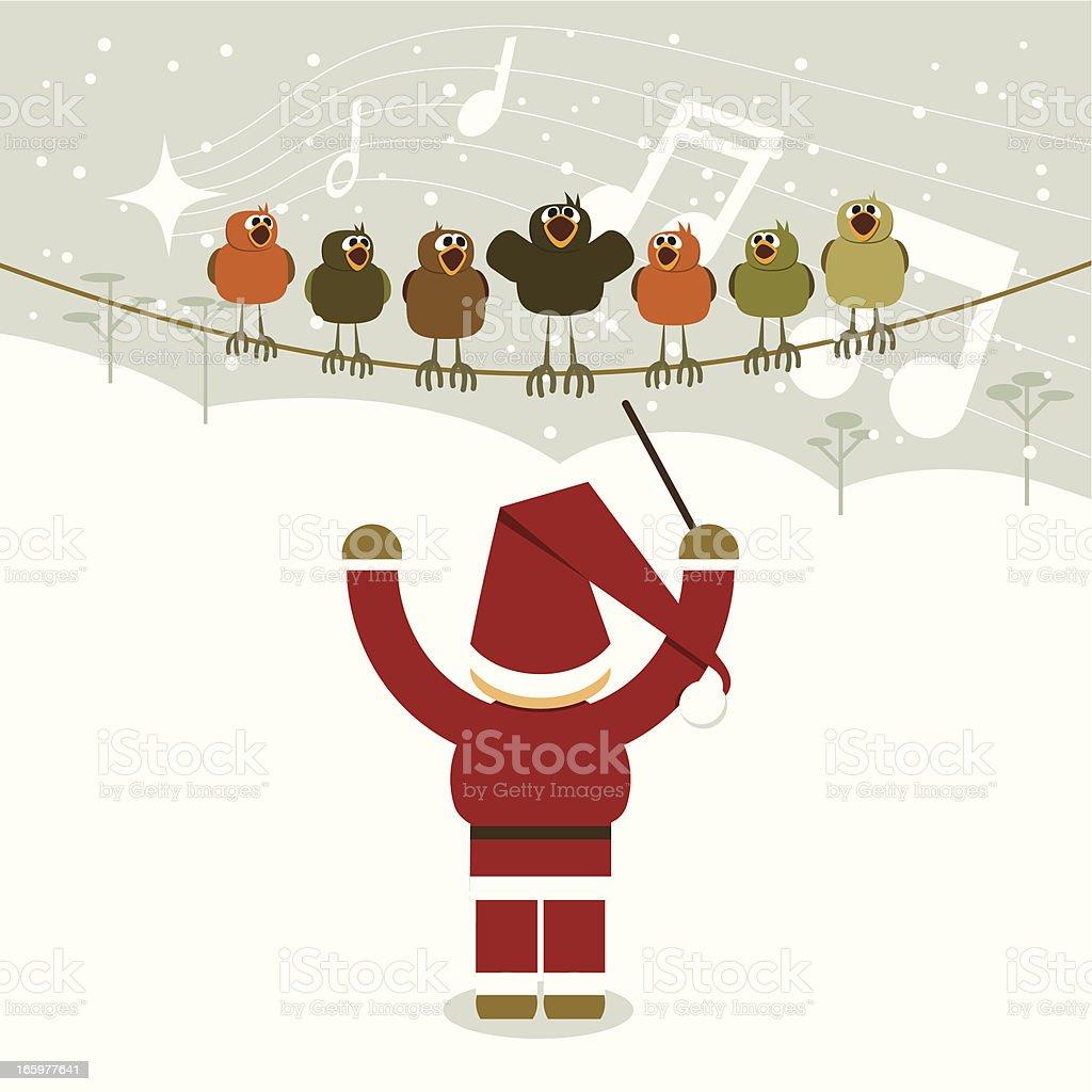Santa's christmas orchestra vector art illustration