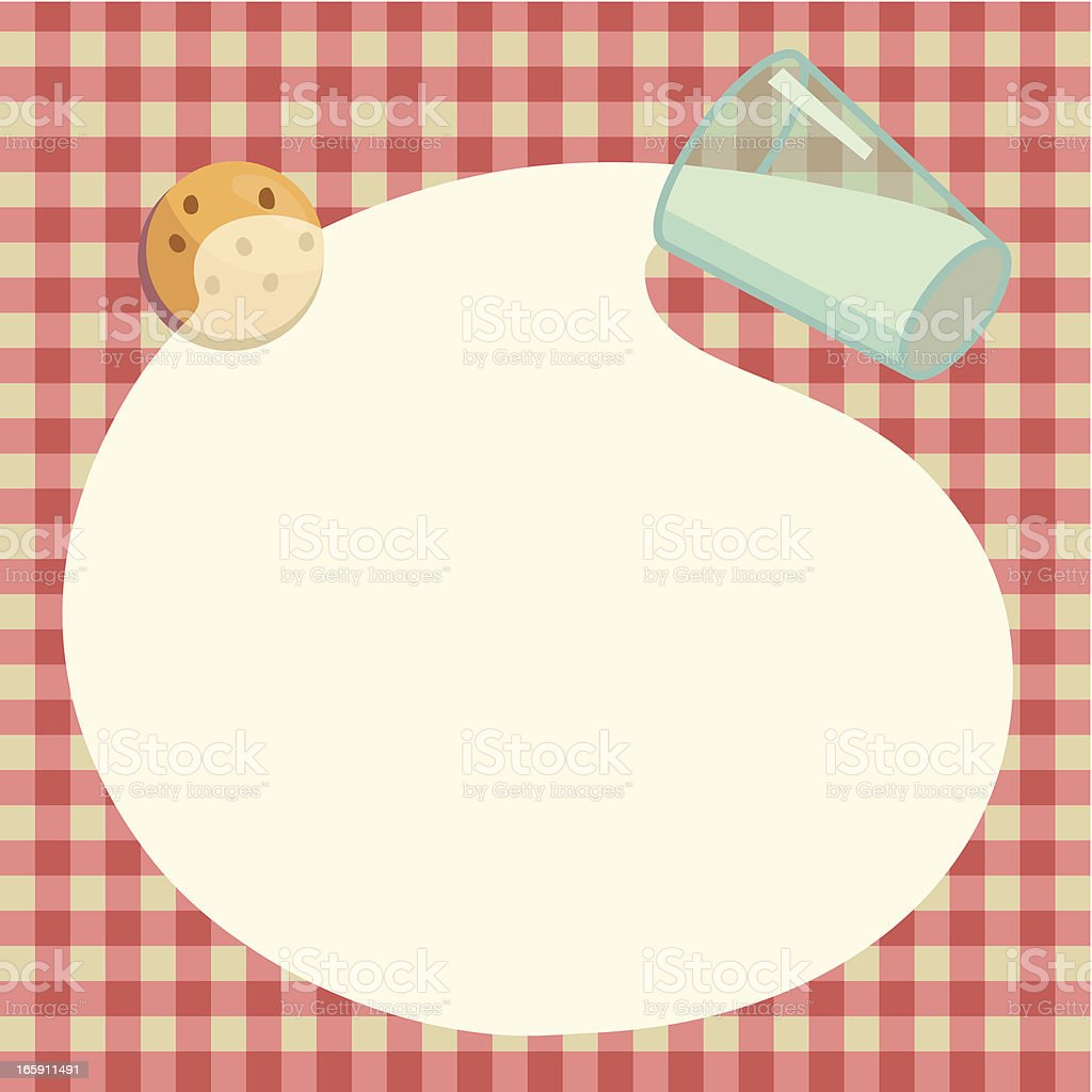 Santa`s cookie and milk. vector art illustration