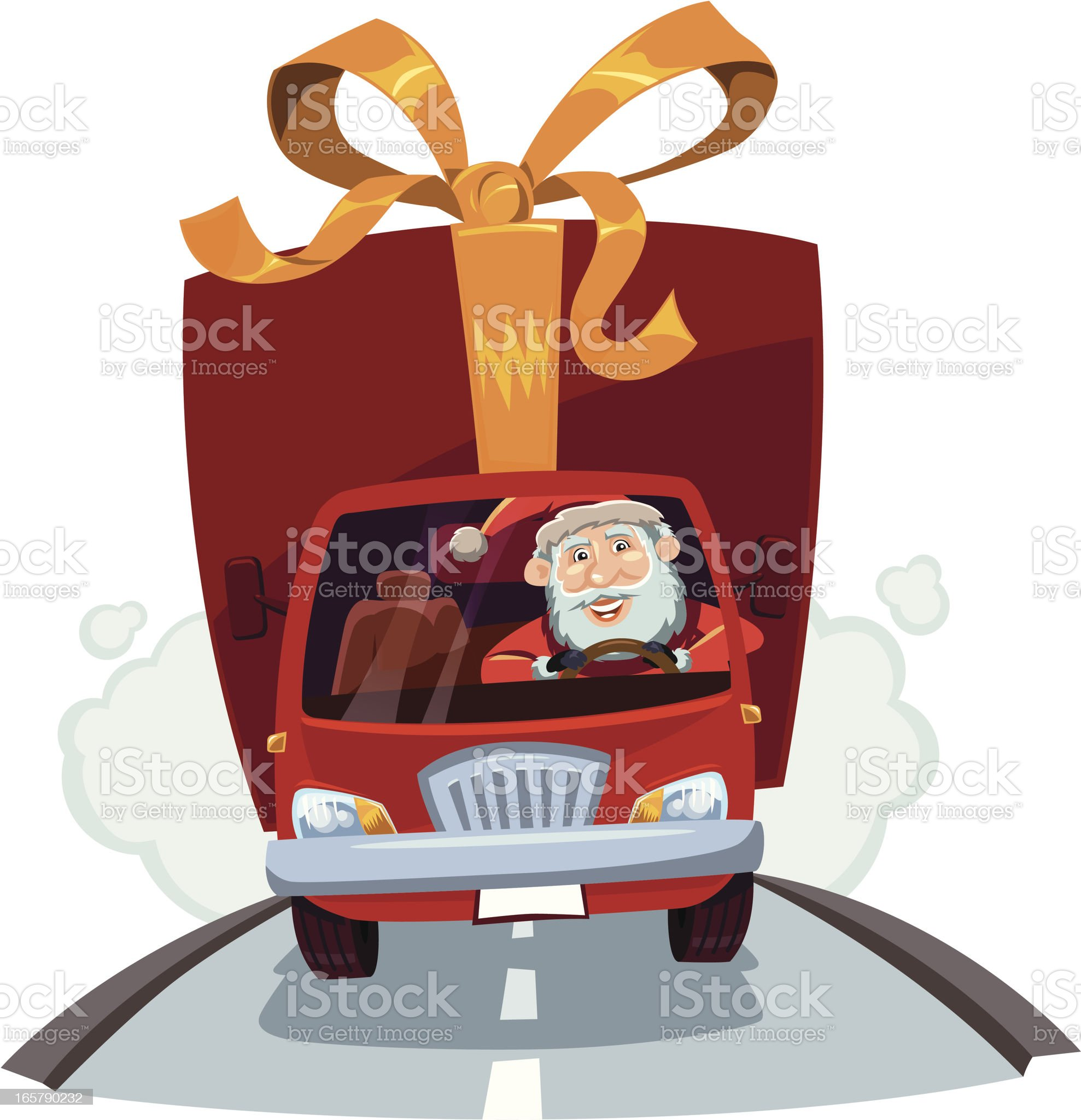 Santa's delivering christmas gifts by truck royalty-free stock vector art