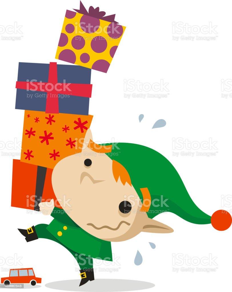 Santa's Elf helper carrying four presents vector art illustration