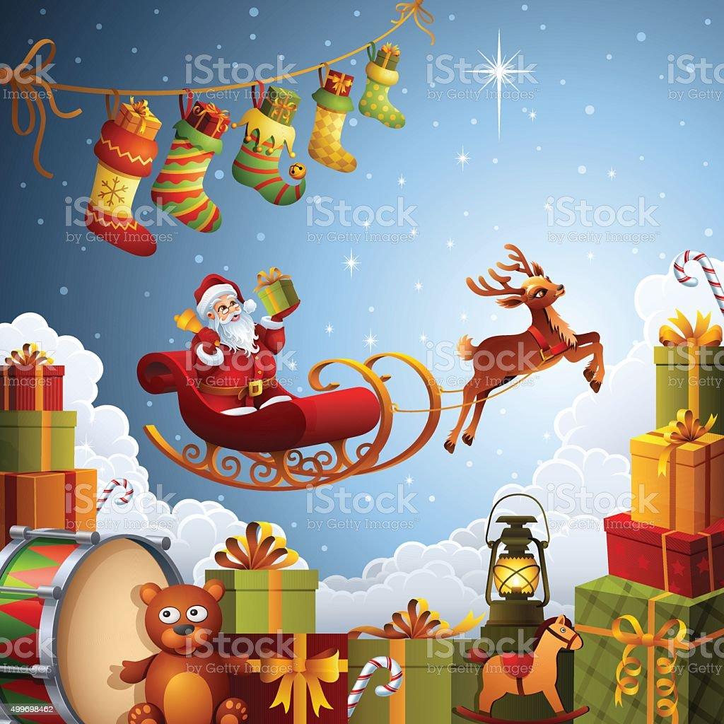 Santa's flying sleigh vector art illustration