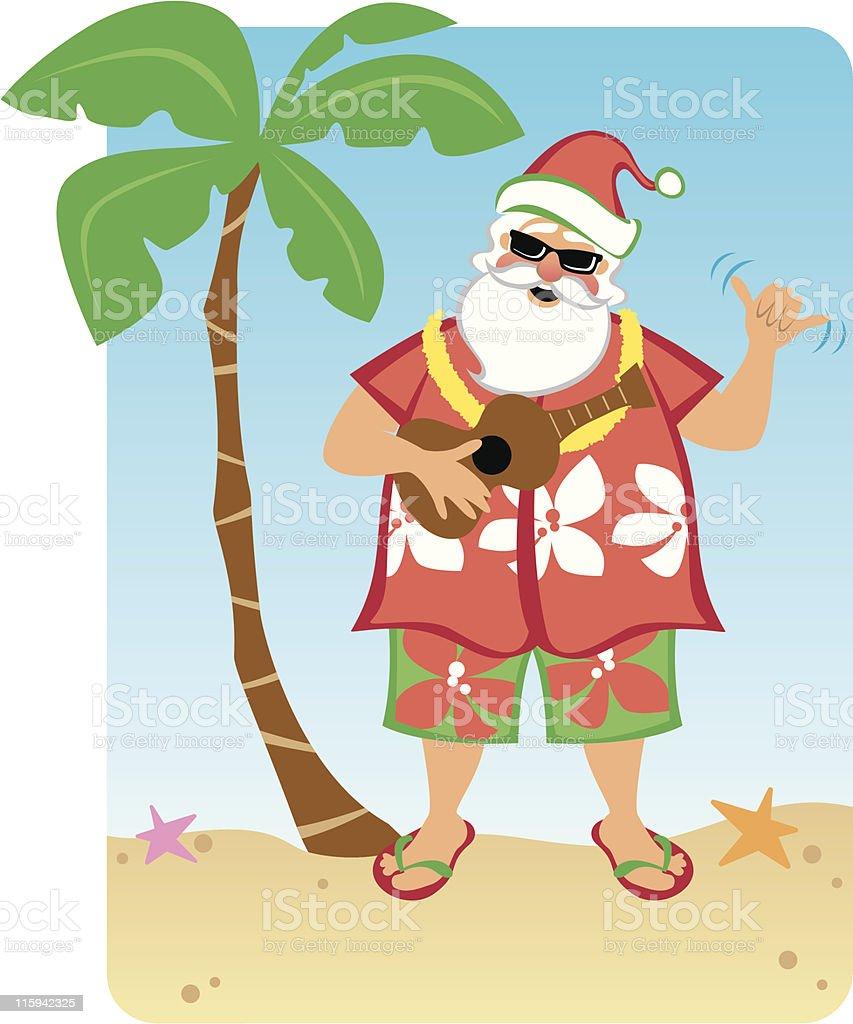Santa's Hawaiian Christmas royalty-free stock vector art