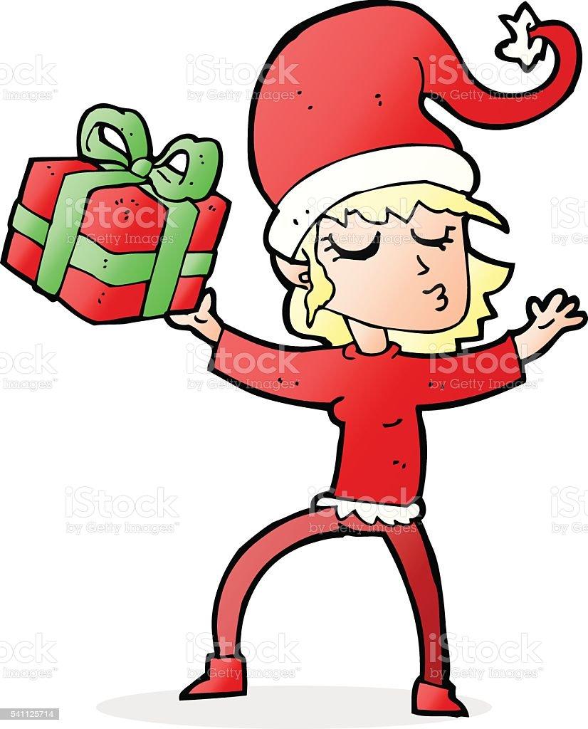 santa's helper cartoon vector art illustration