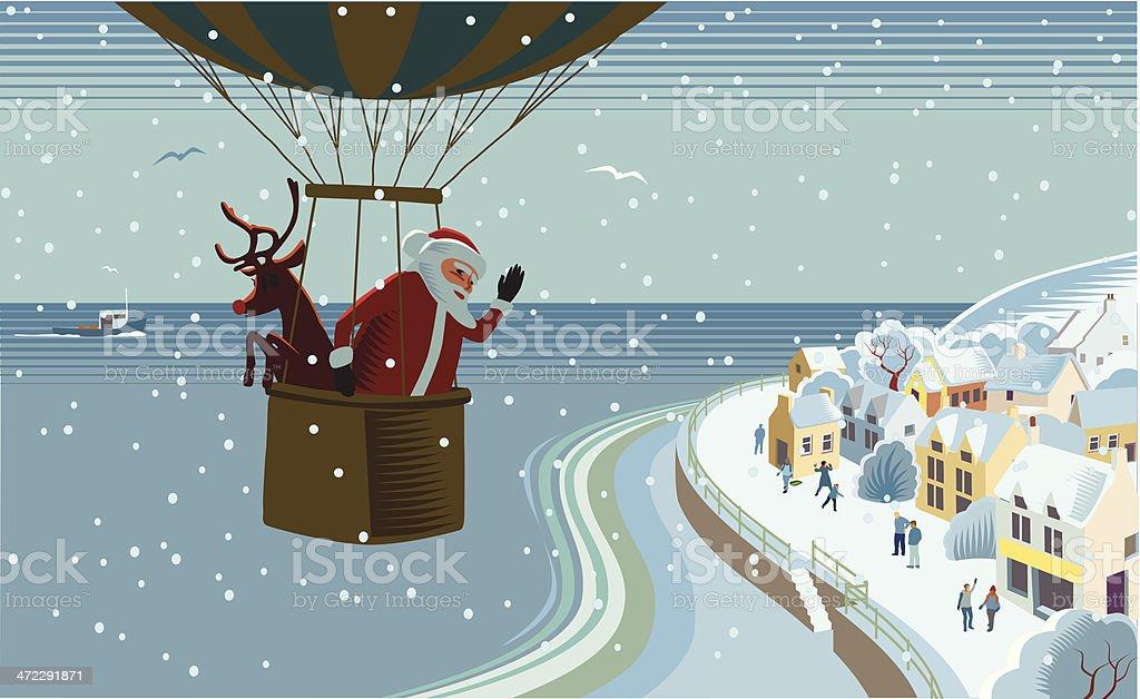 Santas hot air balloon royalty-free stock vector art