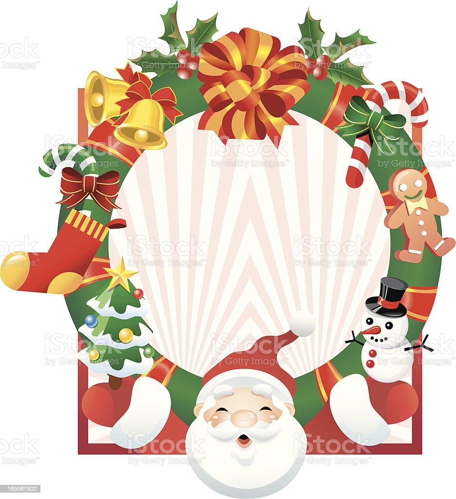 santa's joyful wreath vector art illustration