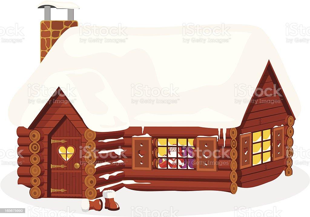 Santa's Log Cabin royalty-free stock vector art