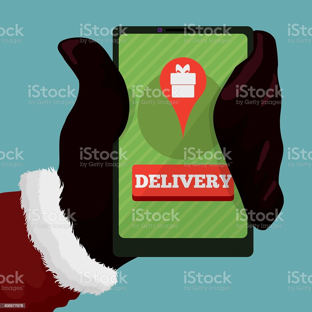 Santa's Phone in his Hand with Delivery App. vector art illustration