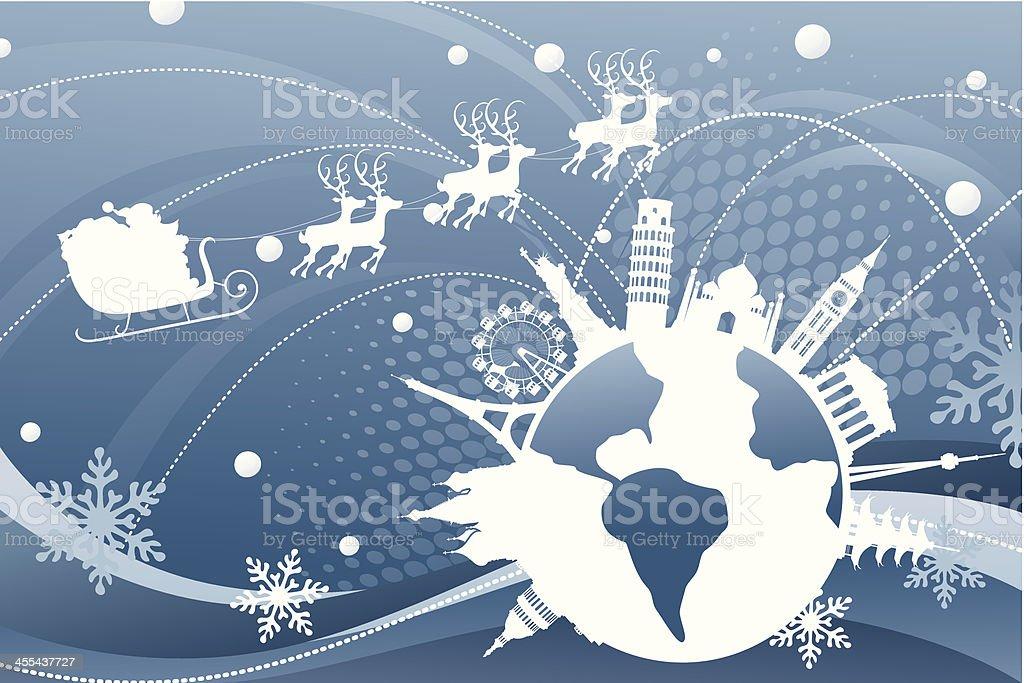 Santa's Route vector art illustration