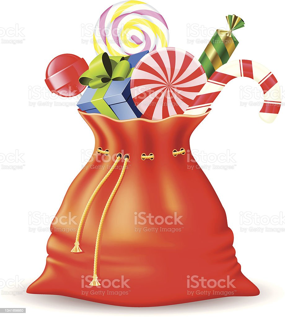 Santa's sack with gifts royalty-free stock vector art