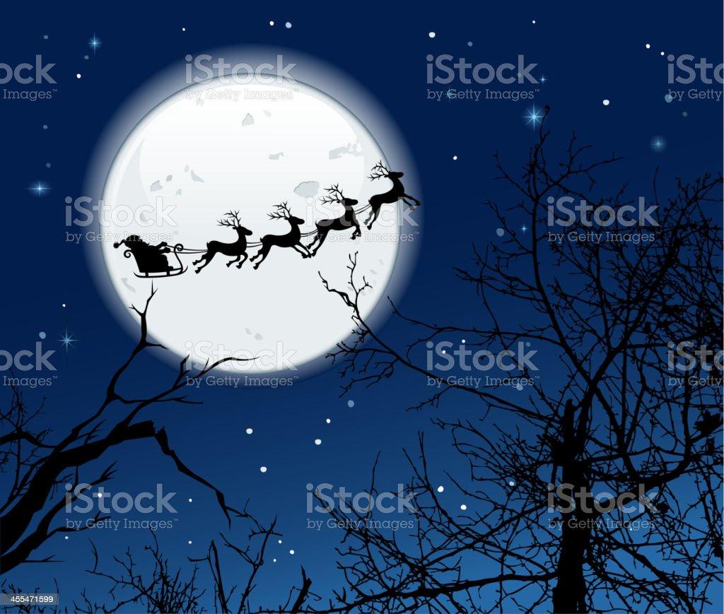 santa's sleigh on moonlight royalty-free stock vector art