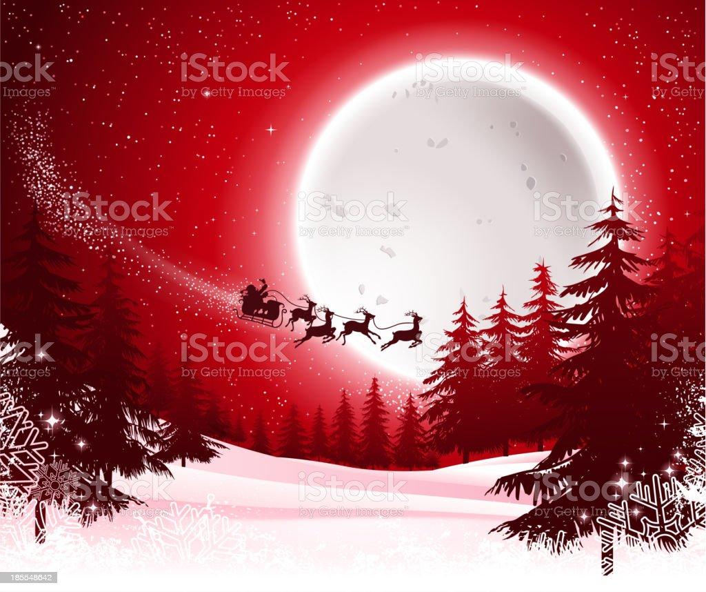 santa's sleigh on night vector art illustration