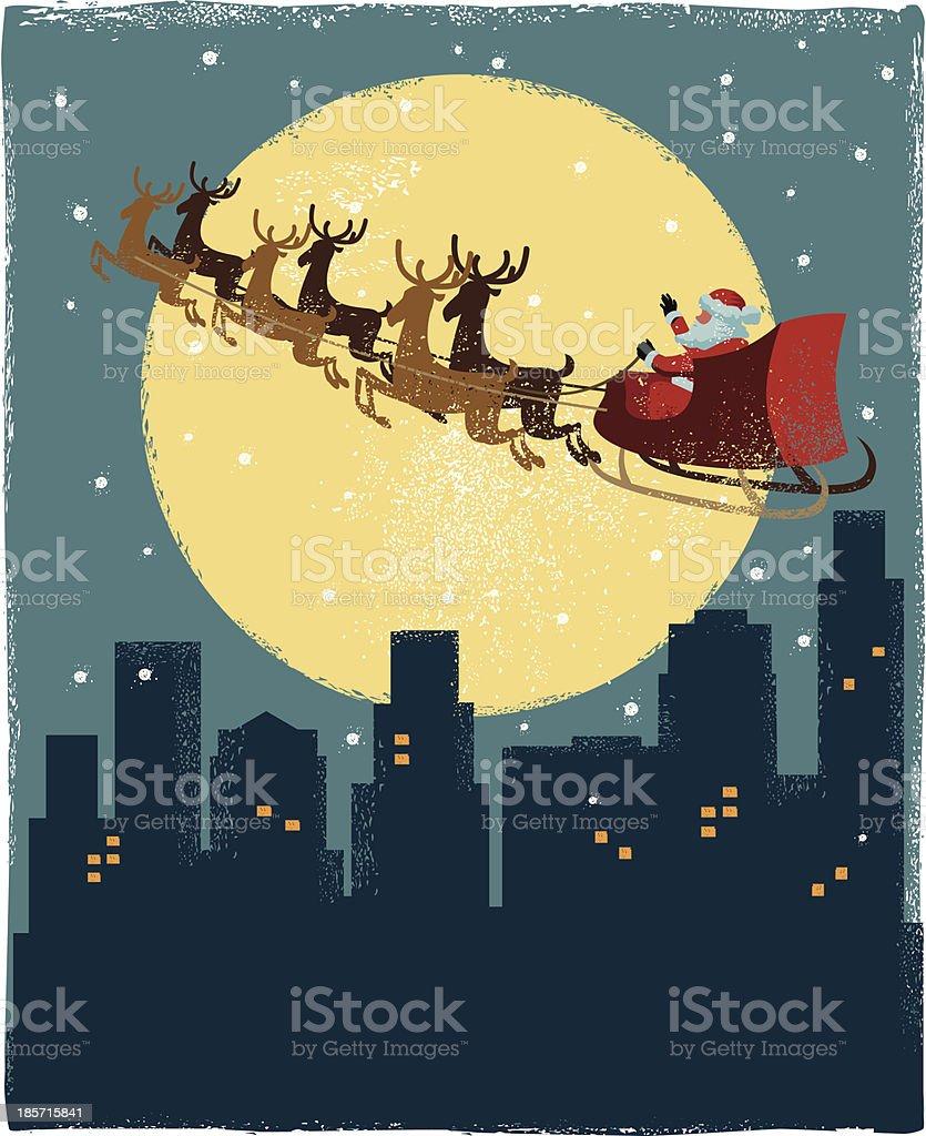 Santa's Sleigh over city royalty-free stock vector art