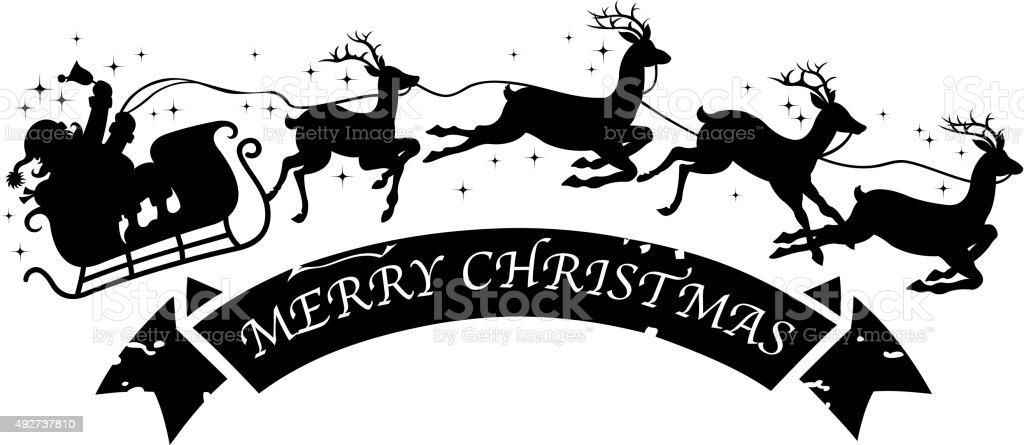santa's sleigh silhouette vector art illustration