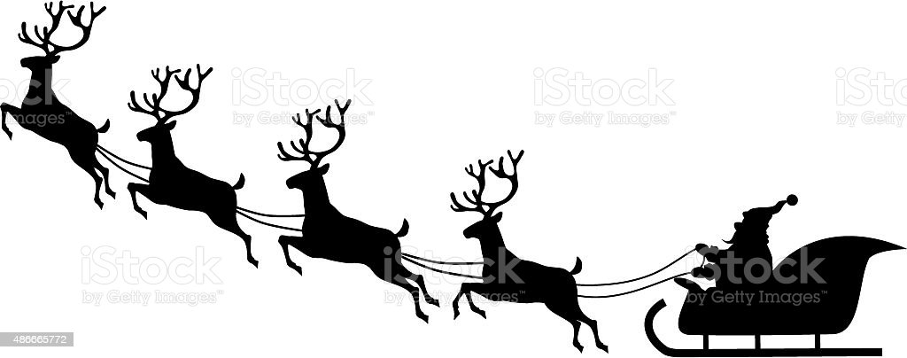 Santa's sleigh vector art illustration