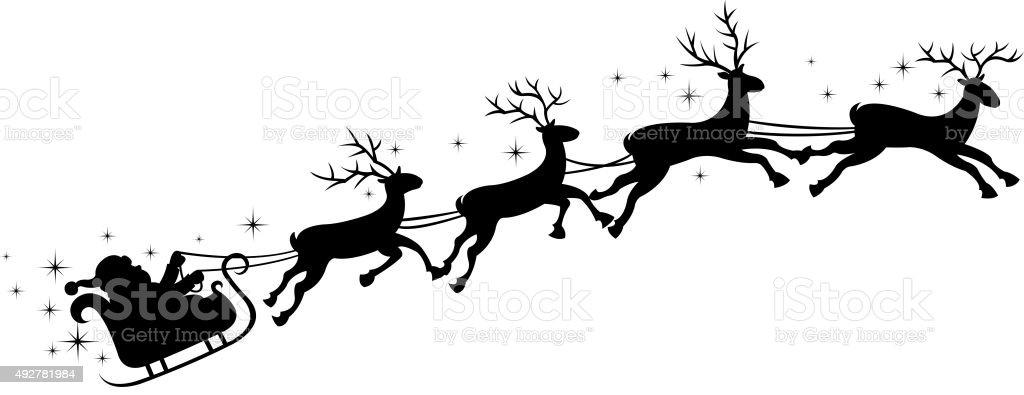 santa's sleigh vector art illustration