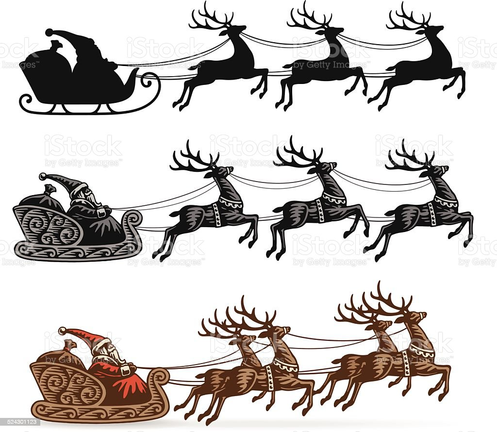 Santa's Sleigh with Reindeer vector art illustration