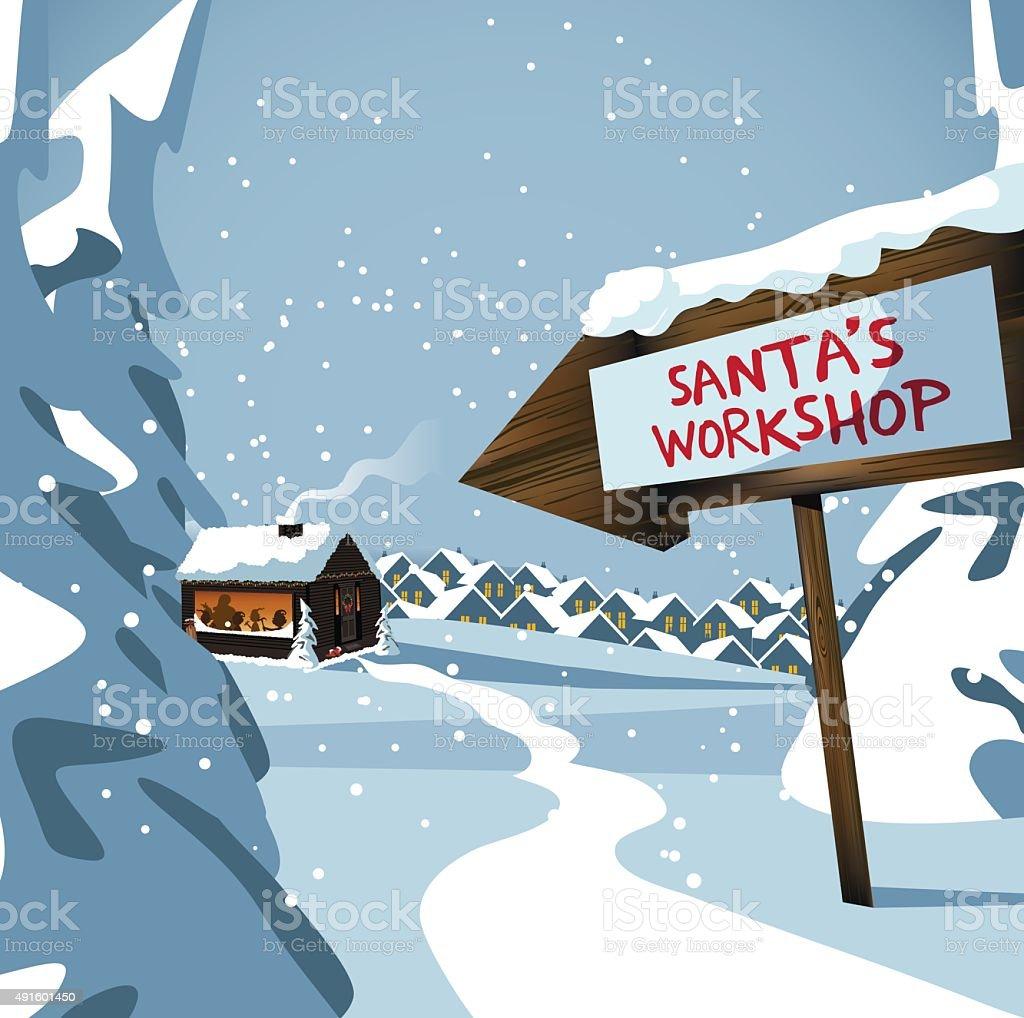 Santa's workshop at the north pole vector art illustration