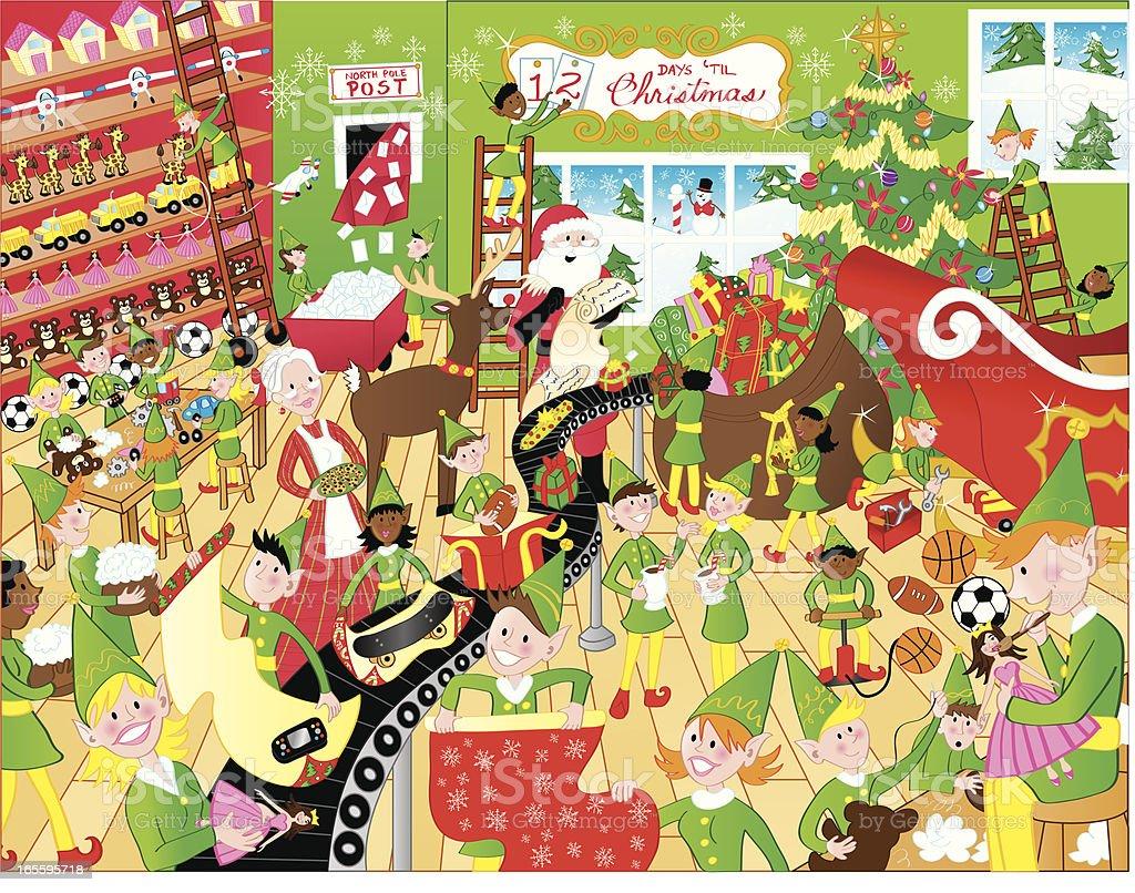 Santa's Workshop royalty-free stock vector art