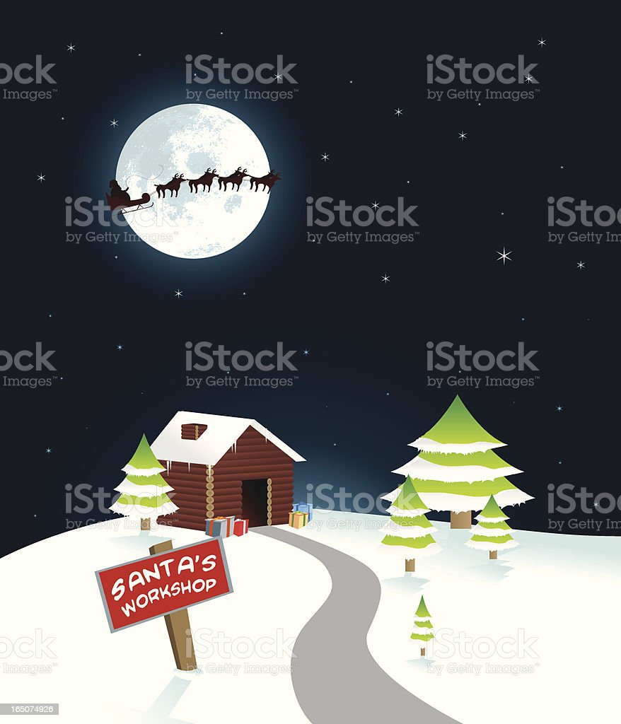 Santa's workshop with reindeer flying overhead royalty-free stock vector art