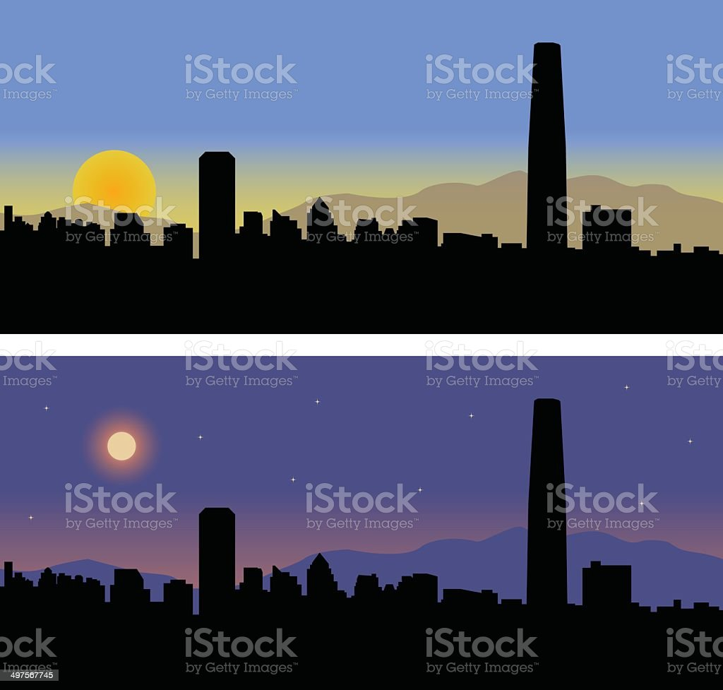 Santiago Chile Day and Night vector art illustration