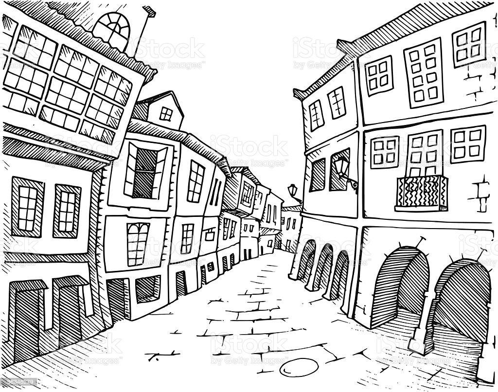 Santiago De Compostela vector art illustration