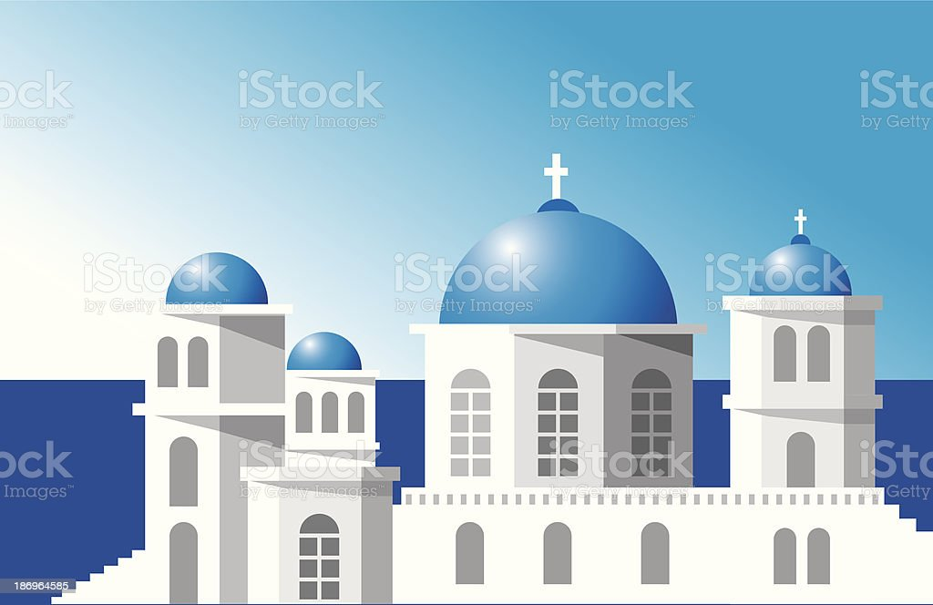 Santorini Church vector art illustration
