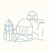 Santorini colored line Illustration