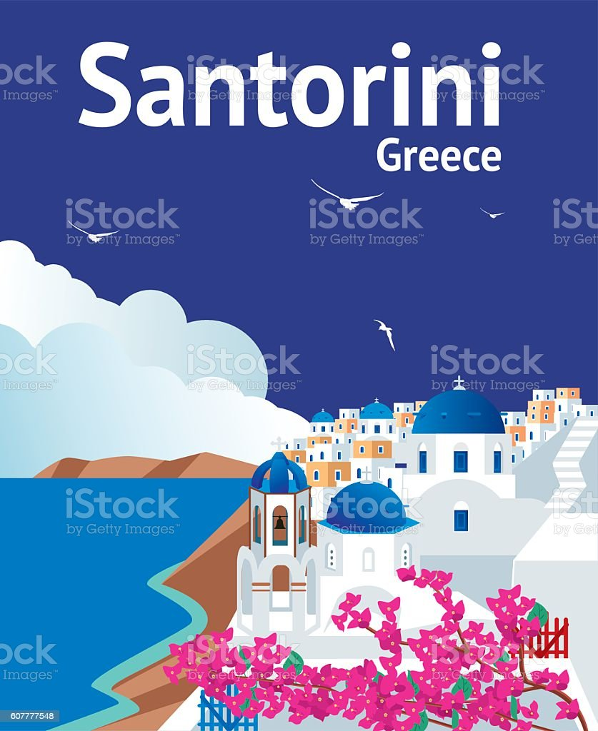 Santorini vector art illustration