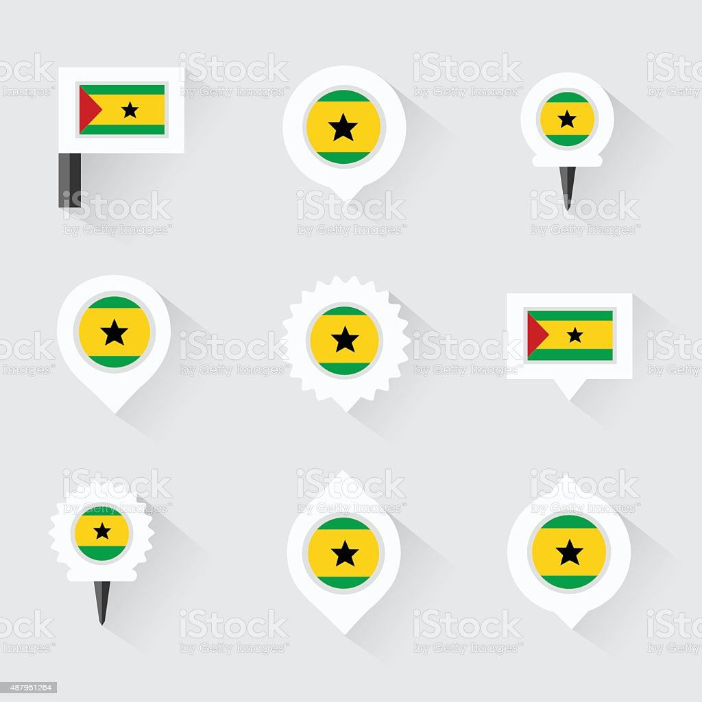 sao tome and principe flag and pins for infographic, vector art illustration