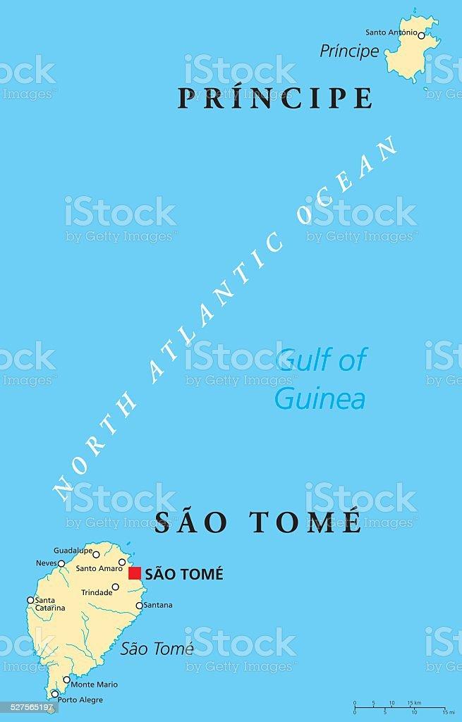 Sao Tome and Principe Political Map vector art illustration
