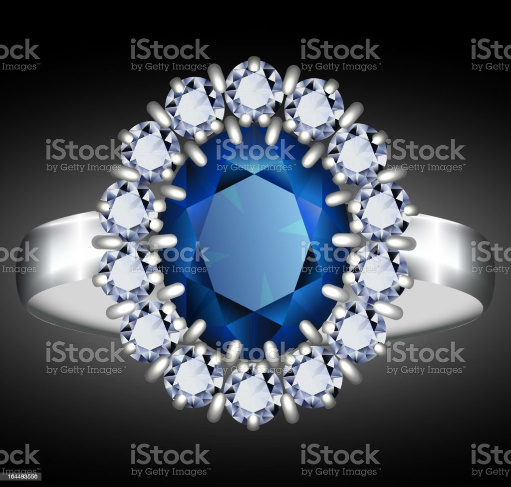 Sapphire ring royalty-free stock vector art