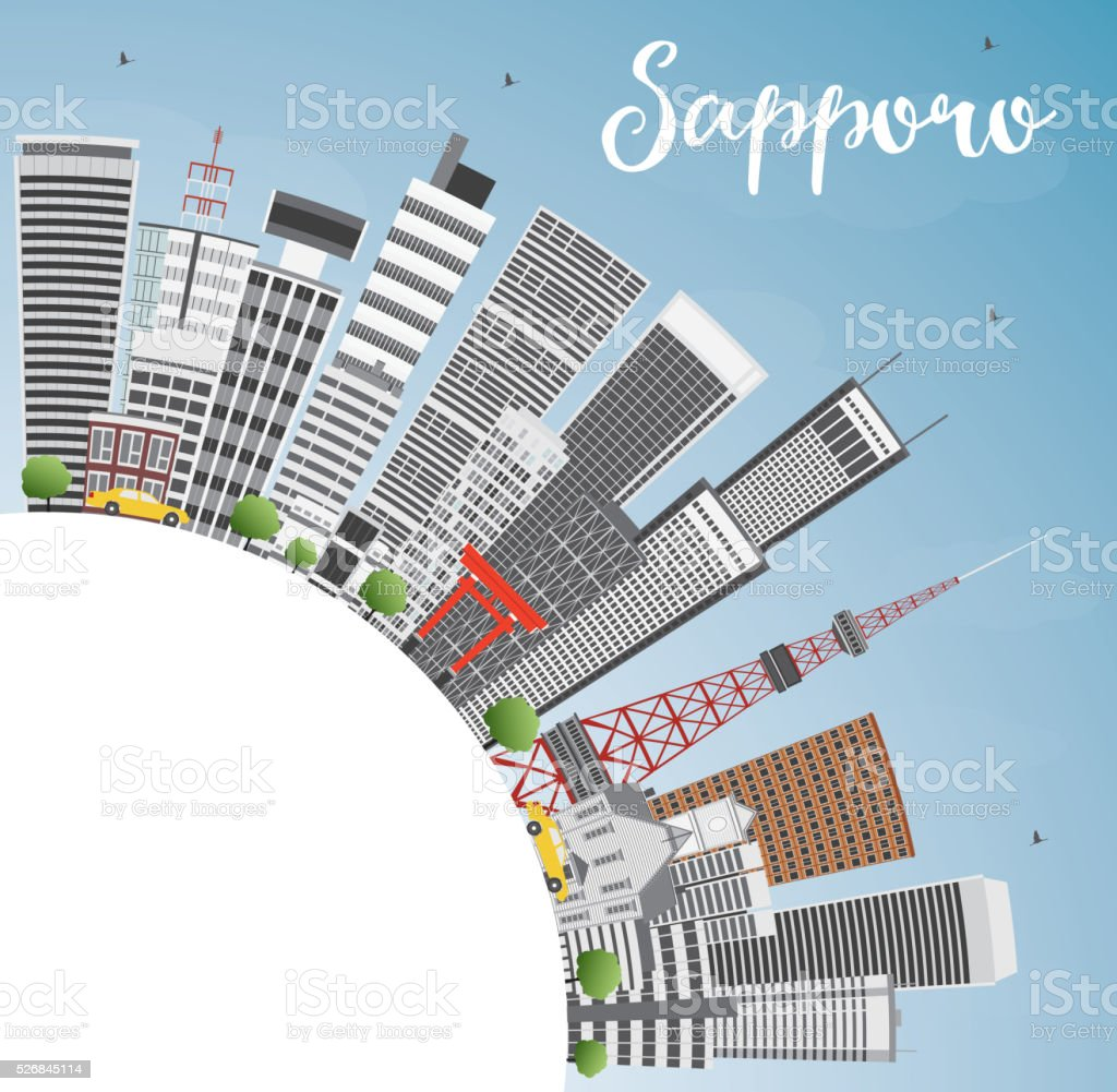 Sapporo Skyline with Gray Buildings, Blue Sky and Copy Space. vector art illustration