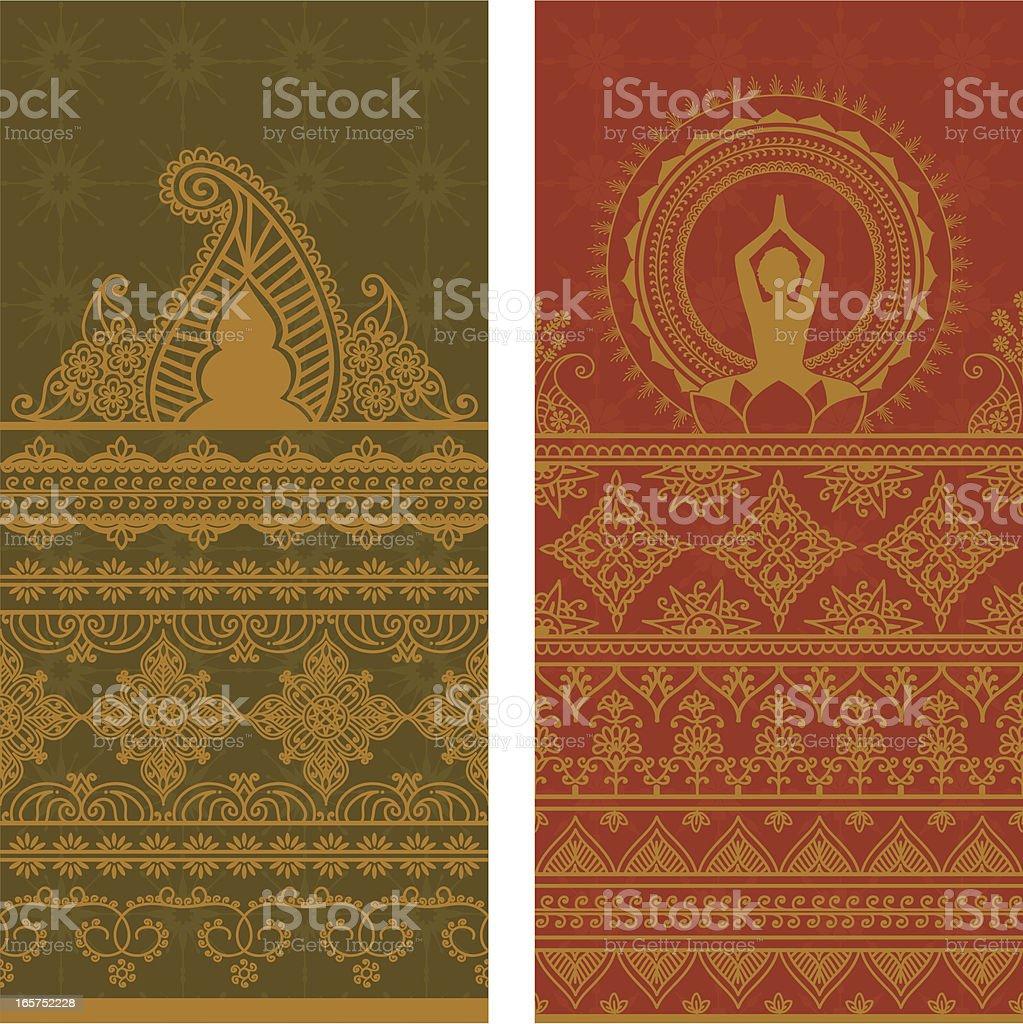 Sari Borders Tall - Gold vector art illustration