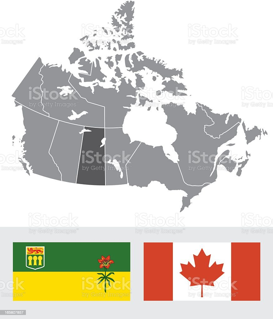Saskatchewan, Canada Map and Flag vector art illustration