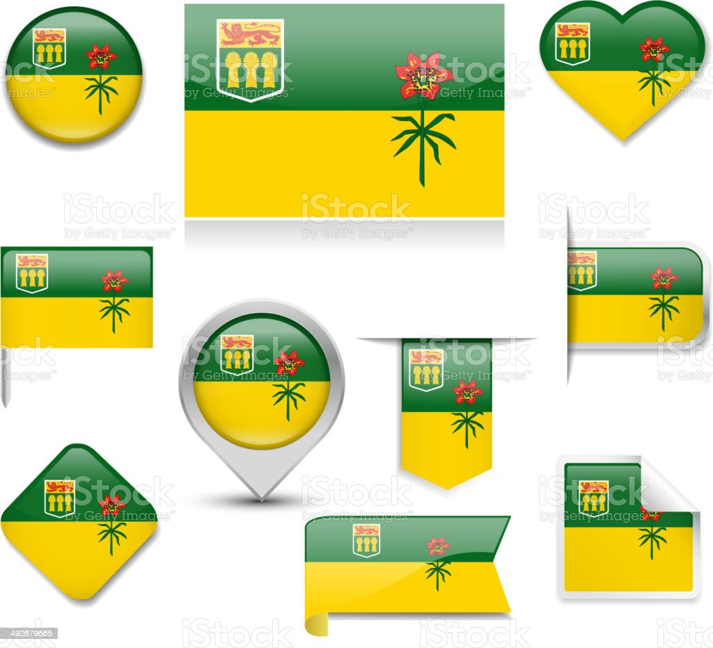Saskatchewan Flag Collection vector art illustration