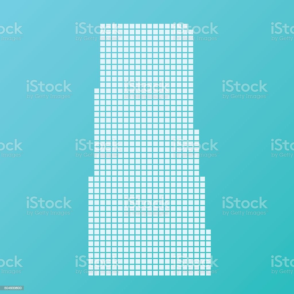 Saskatchewan Map Basic Square Pattern Turquoise vector art illustration