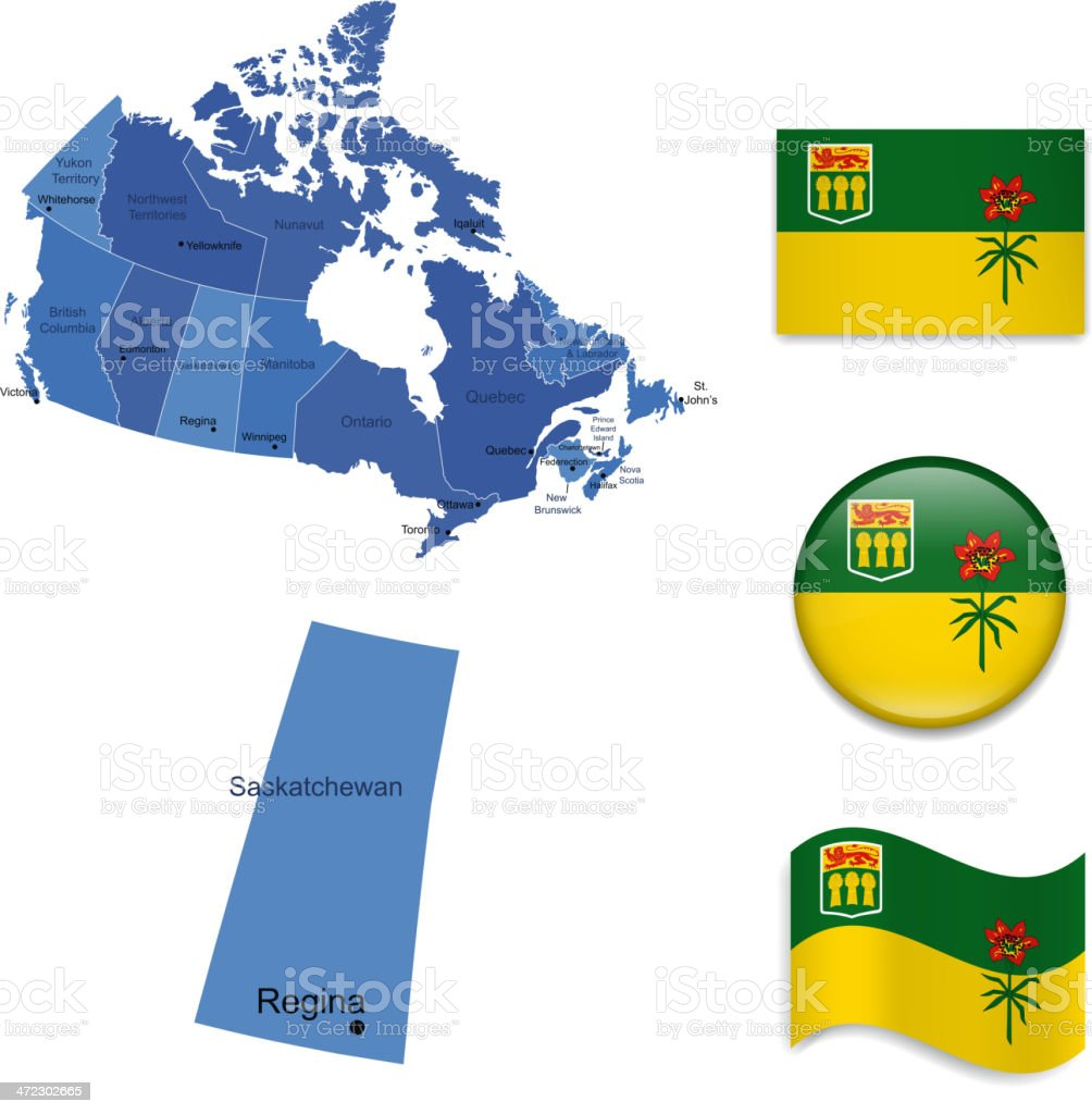 Saskatchewan province set vector art illustration
