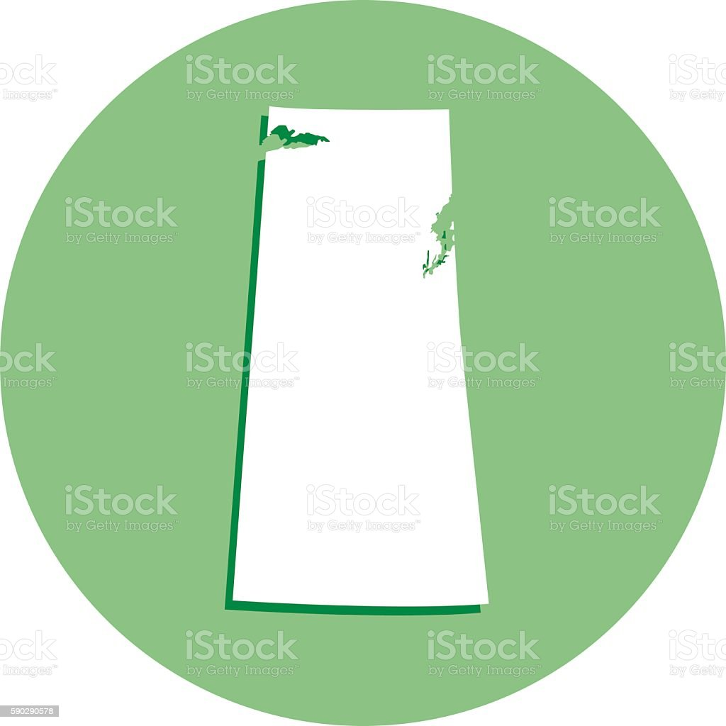 Saskatchewan Round Map Icon vector art illustration