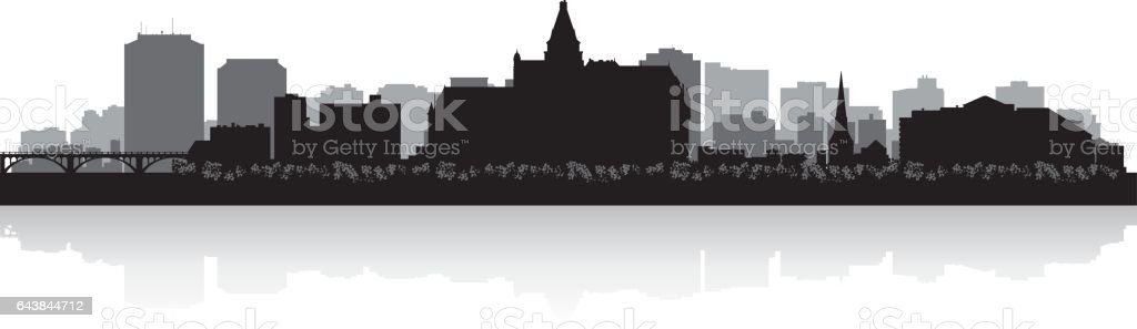 Saskatoon Saskatchewan Canada city skyline silhouette vector art illustration